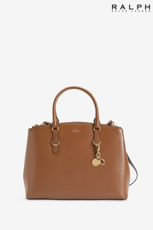 Ralph Lauren Tan Leather Double Zip Handbag