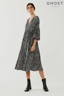 Ghost Caspy Floral Print Crepe Wrap Dress
