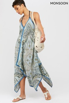 Monsoon Blue Chrissie Hanky Hem Dress