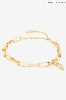 Mint Velvet Gold Tone Chain Charm Bracelet