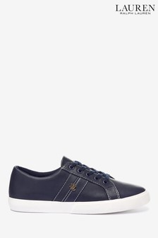 Ralph Lauren Janson Leather Gold Logo Trainers