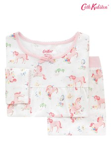 Cath Kidston® Kids White Unicorn Meadow Jersey Pyjamas