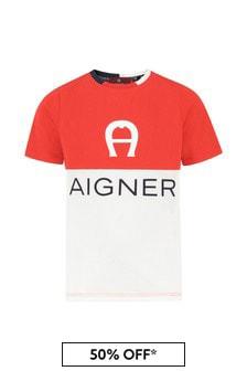 Aigner Boys Red Cotton T-Shirt