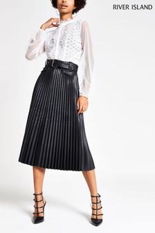 River Island Black PU Pleated Midi Skirt