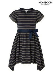 Monsoon Children Navy Katia Stripe Dress