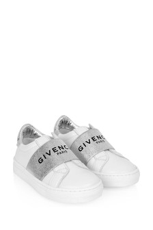 Girls White Leather Logo Trainers