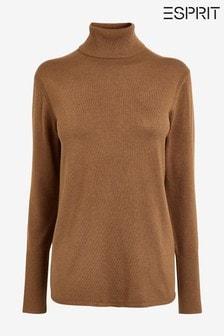 Esprit Brown Lightweight Roll Neck Sweater