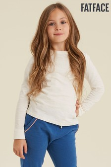FatFace Natural Plain Cuff T-Shirt