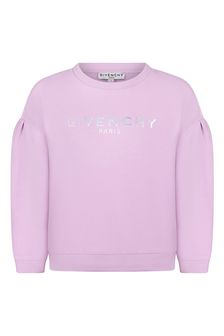 Givenchy Kids Girls Lilac Cotton Sweat Top