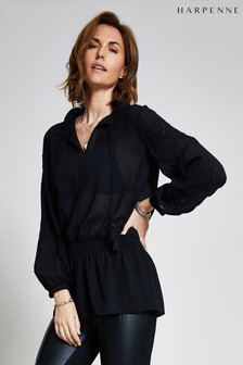 Harpenne Black Embroidered Long Top
