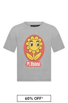 Girls Grey Organic Cotton Flower T-Shirt