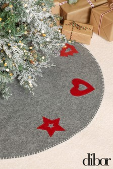 Grey Nordic Christmas Tree Skirt by Dibor
