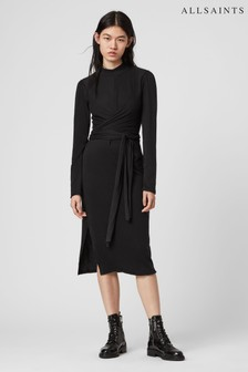 AllSaints Black Veronica Wrap Knitted Dress