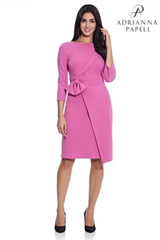Adrianna Papell Pink Knit Crepe Tied Sheath Dress