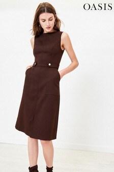 Oasis Brown Utility Midi Dress