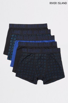 River Island Navy Foil Xmas Trunks Five Pack