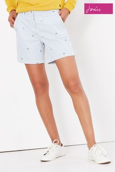 Joules Blue Cruise Mid Thigh Length Chino Shorts With All Over Embroidery