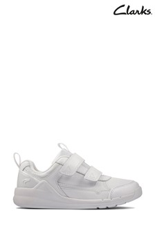 Clarks White Leather Orbit Sprint K Trainers