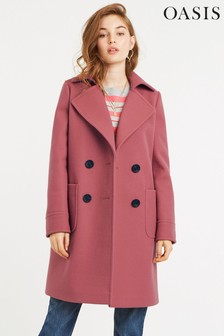 Oasis Pink Charmaine Button Coat