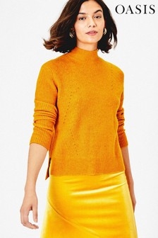 Oasis Yellow Raakel Ribbed Jumper