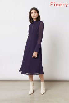 Finery London Blue Lorena In Navy Red Spot Dress