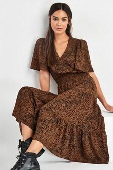 Shirred Waist Tiered Maxi Dress