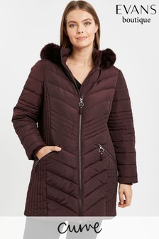 Evans Curve Plum Chevron Padded Coat