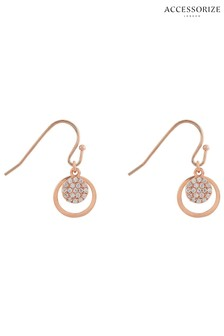 Accessorize Rose Gold Plated Sparkle Short Drop Earrings