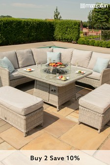 Oxford Royal Corner Set With Fire Pit By Maze Rattan