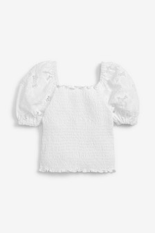 Broderie Sleeve Shirred Top (3-16yrs)