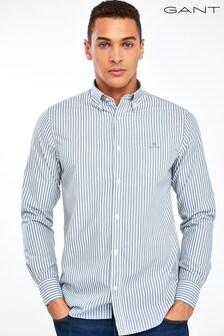 GANT Blue Broadcloth Stripe Regular Shirt