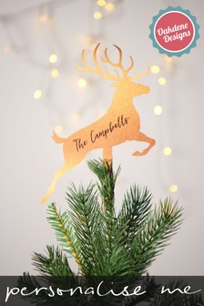 Personalised Copper Stag Tree Topper by Oakdene Designs