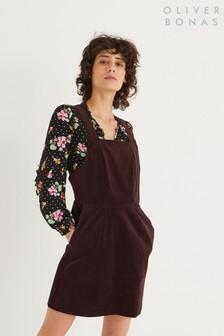 Oliver Bonas Chocolate Brown Corduroy Pinafore Dress