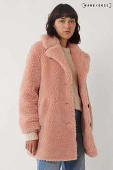 Warehouse Pink Single Breasted Teddy Coat