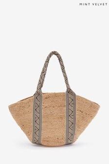 Mint Velvet Neutral Emily Jute Tape Shopper Bag