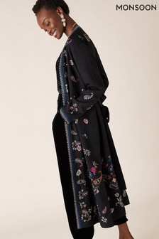 Monsoon Black Raja Embroidered Kimono