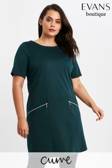 Evans Curve Green Zip Shift Dress
