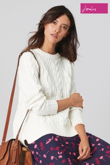 Joules Cream Dawson A-Line Cable Jumper