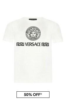 Versace Boys White Cotton T-Shirt