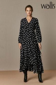 Wallis Petite Black Spot Wrap Midi Dress