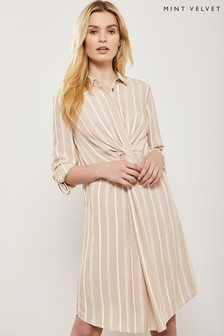 Mint Velvet Natural Twist Front Stripe Shirt Dress