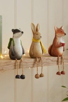 Set of 3 Brown Woodland Animal Ornaments