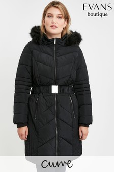 Evans Curve Black Belted Padded Coat