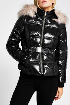 River Island Petite Black Quilted Double Zip Padded Jacket