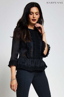 Harpenne Black Ruffle Trim Top