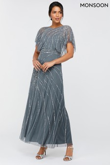 Monsoon Blue Florence Embellished Maxi Dress