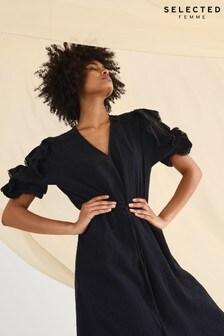 Selected Femme Black Ruffle Sleeve Jenny Dress