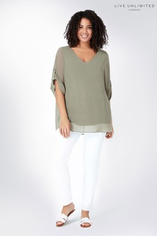 Live Unlimited Green Roll Sleeve Top