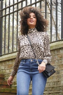 Oasis Black Dalmatian High Neck Top