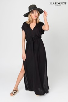 Pia Rossini Black Maxi Dress With Drawstring Waist